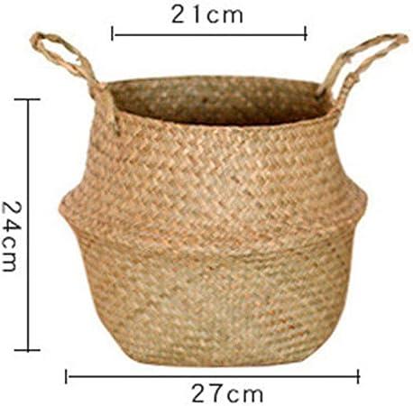 Foldable Natural Seagrass Woven Storage Pot Garden Flower Vase Hanging Basket