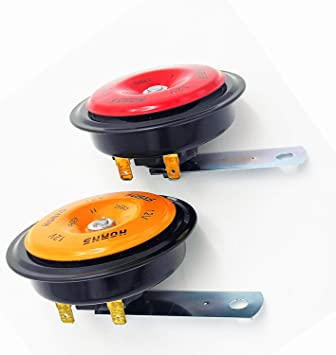 YIYDA Motorcycle Horn Car Horn Super Loud High Tone and Low Tone Metal Car Electric Horn Red and Orange fashion match loudspeaker Waterproof Electric Universal Horn for Any 12V Truck Moto car ect