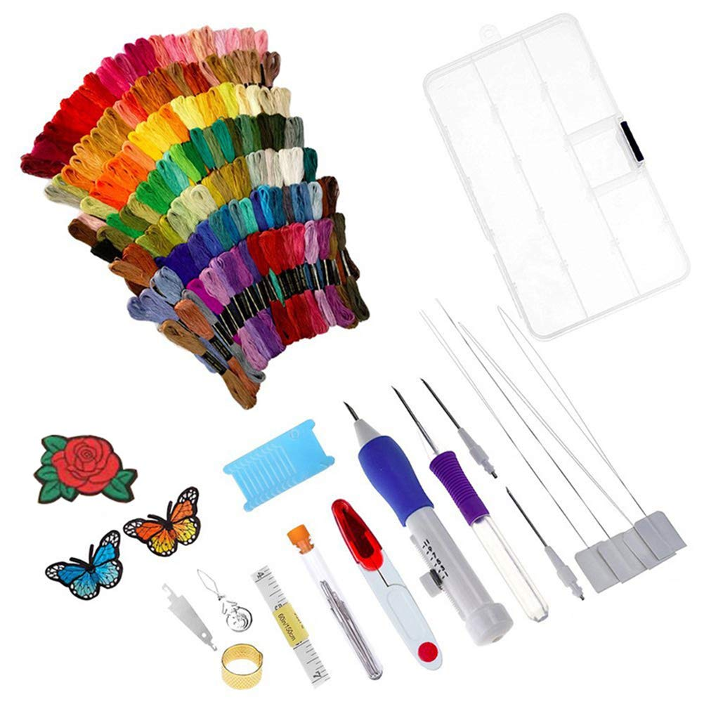 ULTNICE Magic Embroidery Pen Punch Needle Embroidery Patterns Punch Needle Kit Craft Tool Set for Embroidery Threaders Knitting Sewing Tool 136PCS