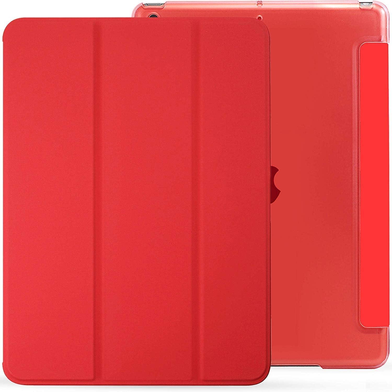 KHOMO Funda iPad 10.2 (iPad 7, 2019) Roja Ultra Delgada y Ligera con Smart Cover y Carcasa Trasera de Silicona Semi Transparente - Rojo