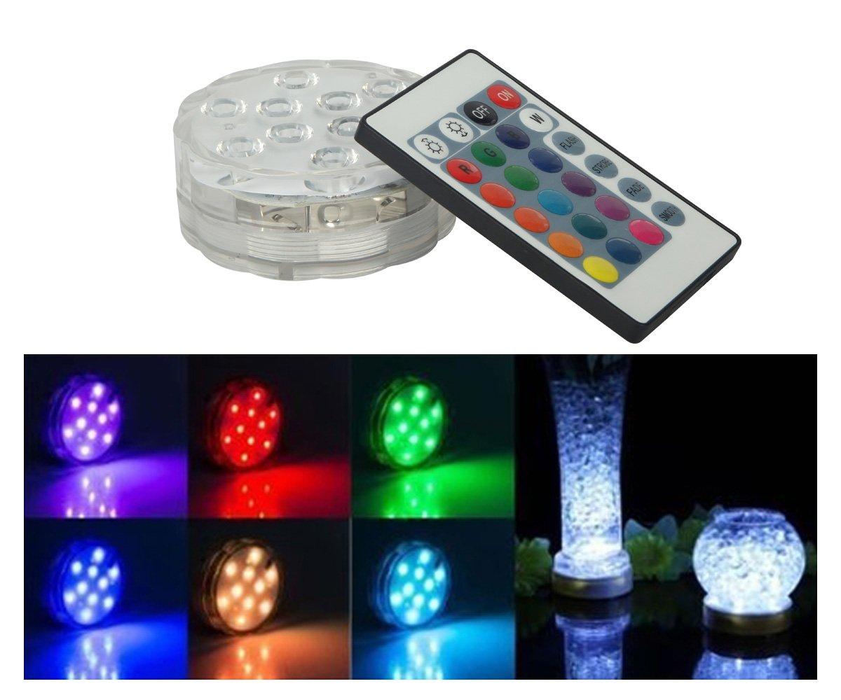 HIOFFER Submersible Led Lights, Multi Color Remote Controlled Submersible LED Lights - 10 LED Controlled Submersible Light, for Aquarium, Pond, Party, Lighting - Flower Edge