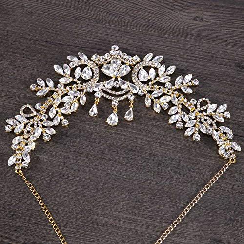 Forehead Bride Wedding Hair Accessories Crystal Rhinestone Crown Headband Tiara Bridal Hair Ornaments Headdress Forehead Jewelry Gold