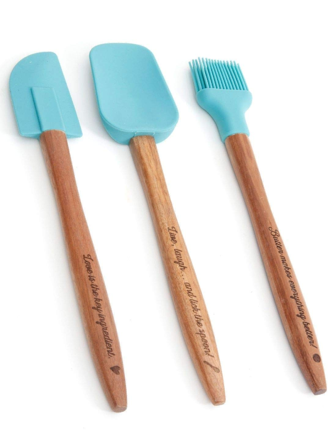 The Pioneer Woman Cowboy Rustic 3-Piece Silicone Head Utensil Set with Acacia Wood Handle, Turquoise/Blue