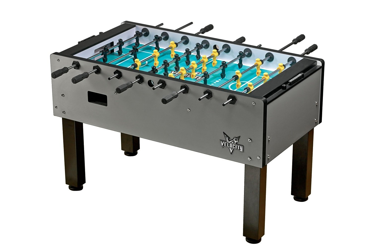 "Velocity Professional Foosball Table by HJ Scott, 3 Goalie, Silver 56 3⁄4"" x 29 3⁄4"" x 35 1⁄2"", VF5000 by HJ Scott"