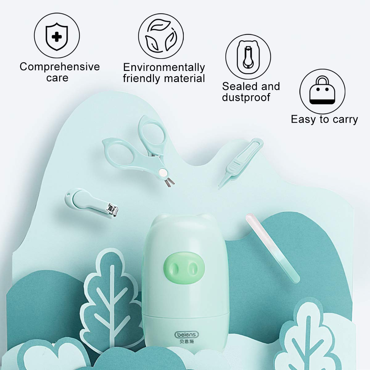 Baby Nail Kit, Scissors, Clipper, Nail File, Tweezers 4 in 1, Safety Baby Grooming Kit with Cute Case for Newborn,Infant,Toddler,Kids