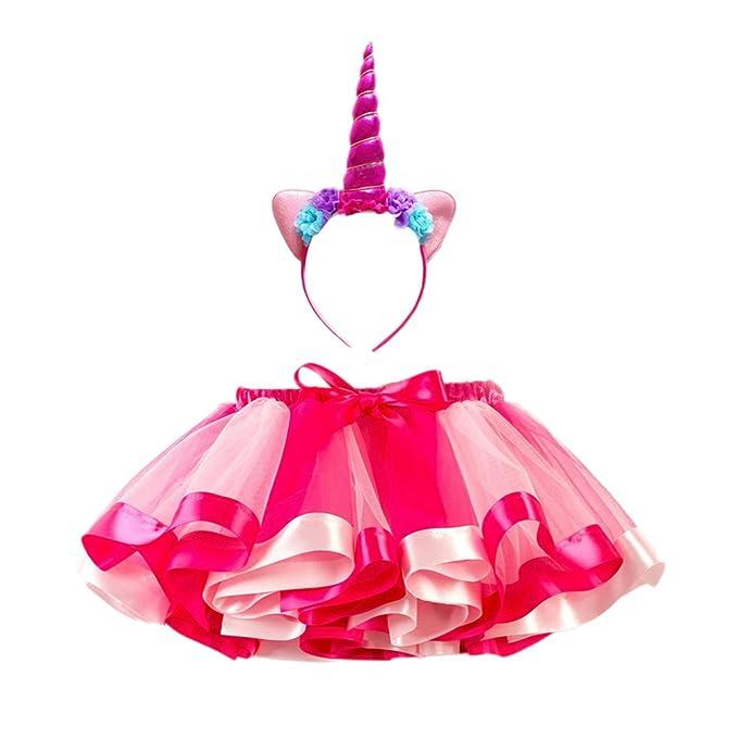 FENICAL Disfraz de Unicornio para Niñas Diadema Unicornio Floral con Oreja y Falda Tutú de Arco Iris Disfraz para Fiesta Rosado