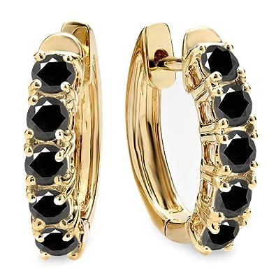 Fine Earrings New Fashion Ladies 10k Yellow Gold Hoop Earrings Huggies 1.00 Carat Genuine Diamonds 25mm