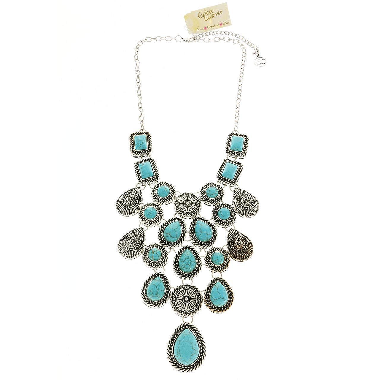 Erica Lyons Velvet Gift Bag Turquoise Bib Statement-Necklace Blue /& Silver-Tone