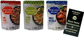 product image for Saffron Road Authentic Recipe Simmer Sauce | 3 Flavor Variety (1) each: Pad Thai, Lemongrass Basil, Tikka Masala (7 Ounces) Plus Recipe Booklet Bundle