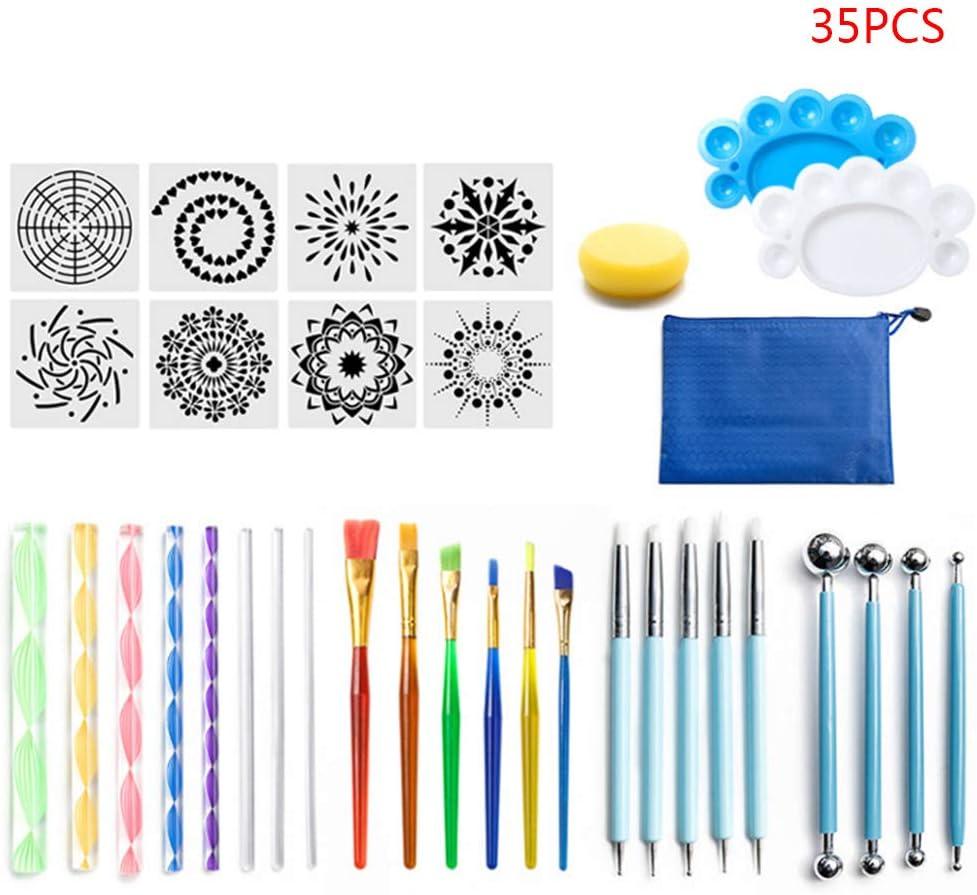 stencil e stencil strumenti per punteggiare mandala per dipingere pietra di roccia Set di 35 utensili Mandala Xzbnwuviei set da 35 pezzi