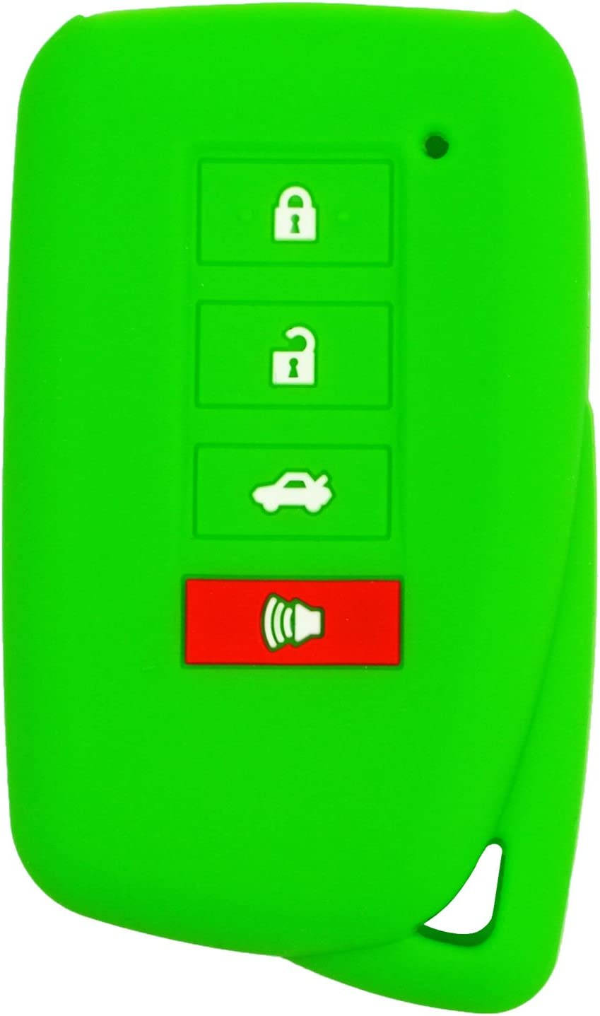qualitykeylessplus Green Silicone//Rubber Protective Cover for Lexus 4 Button Remotes with Free KEYTAG
