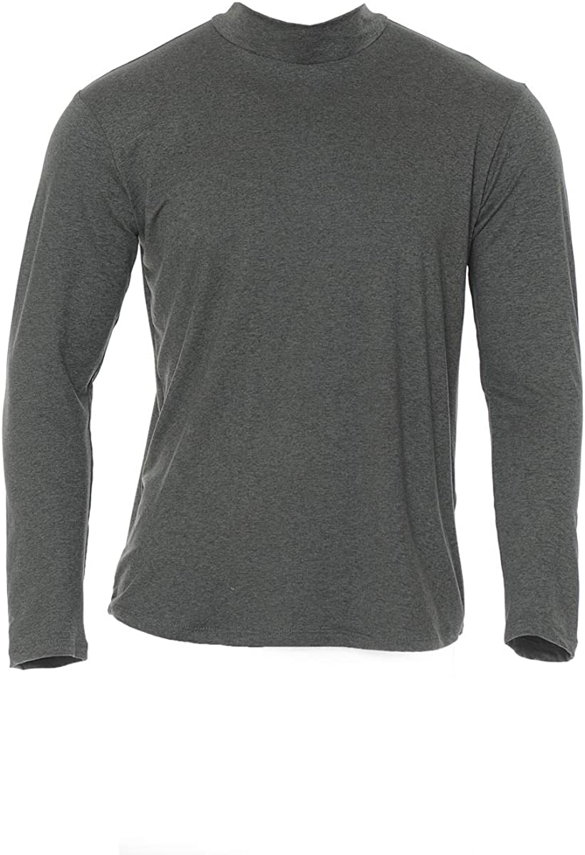 Neovic Mens Athleisure Ultra Soft Knit Yoga Longsleeve Base Layer Casual Solid Mock Neck Top S-2XL