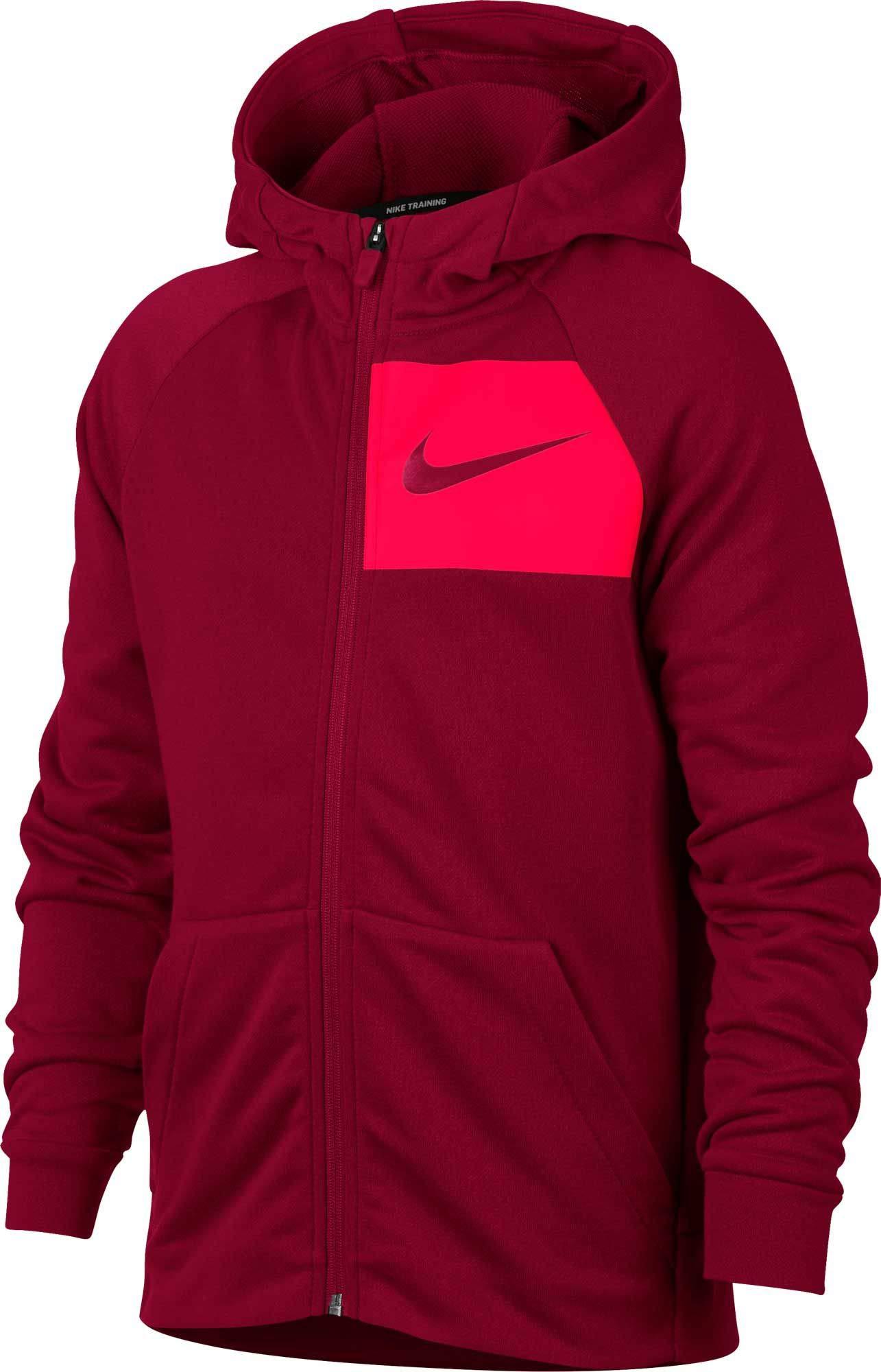 NIKE Boy's Dry Full Zip Hoodie (Red Crush/Bright Crimson, X-Small)