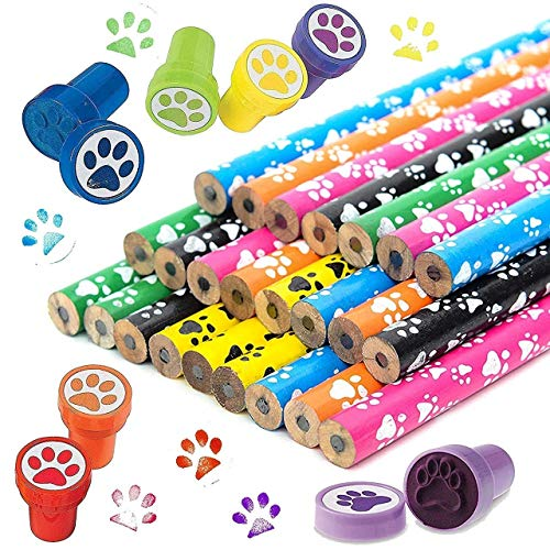 Totem World 24 Novelty Paw Pencils 24 Paw Stamper - Durable Wood and High-Quality Lead - Awesome Back-To-School Presents, Classroom Rewards, and Kids Party Favors - Won't Snap or Peel - Popular With Kids