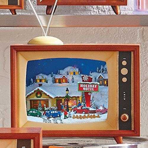 Vintage LED Lighted Animated Musical Holiday Motel Retro TV Set - Holiday Decoration with Christmas Village Scene