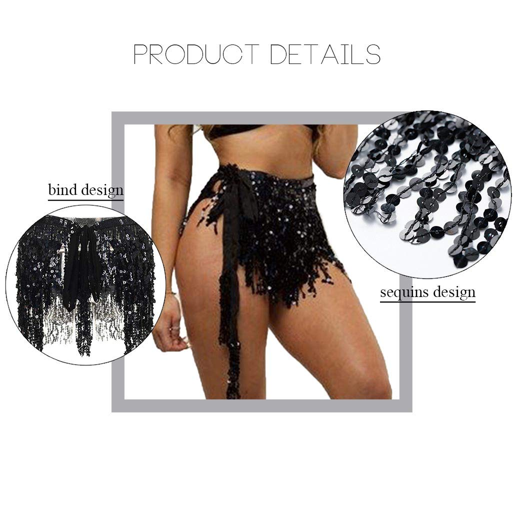 Black Reetan Boho Belly Hip Skirt Sequins Belly Dance Hip Scarf Tassel Fringe Skirt Rave Party Fashion Body Jewelry Accessories for Women and Girls