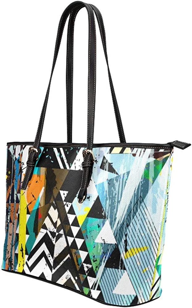 Large Tote Bags Art Fashion Block Triangle Graffiti Leather Hand Totes Bag Causal Handbags Zipped Shoulder Organizer For Lady Girls Womens Storage Tote Bag