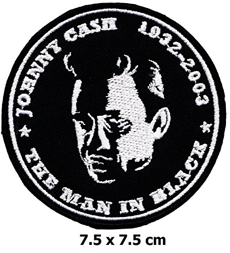 Johnny Cash 1932 2003 The man in black patch Iron on Logo Vest Jacket cap Hoodie Backpack Patch (Johnny Cash Patches)