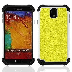 """SAMSUNG Galaxy Note 3 III / N9000 / N9005 - 3 en 1 impreso colorido de Altas Prestaciones PC Funda chaqueta Negro cubierta gel silicona suave (Patrón de grano Bling Rich Amarillo"""")"""