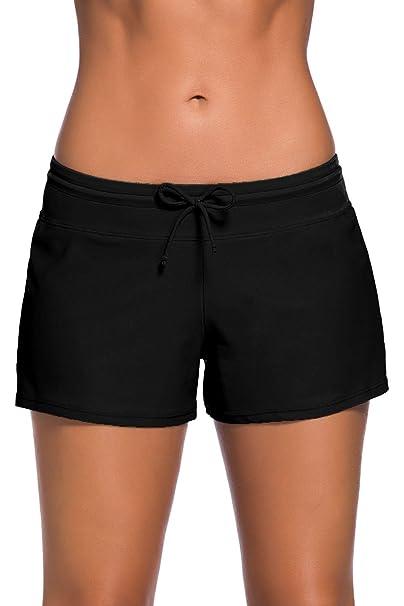 65c6a6b8bc2d3 Aleumdr Women s Swim Boardshort Bottom Shorts Swimming Panty Small Black