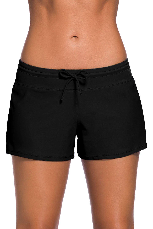 Aleumdr Women's Swim Boardshort Bottom Shorts Swimming Panty Medium Black