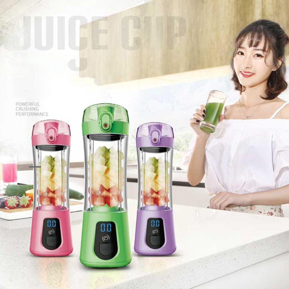 Studyset Mini Portable Electric Juice Bottle Mixer Cup with Power Bank Rechargeable USB Fruit Juicer with Travel Lid & LCD Display for Water, Protein Shakes, Smoothies Green by Studyset (Image #5)