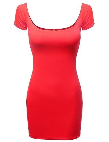 J.TOMSON Women's Sexy Off The Shoulder Short Sleeve Bodycon Mini Slim Dress Top