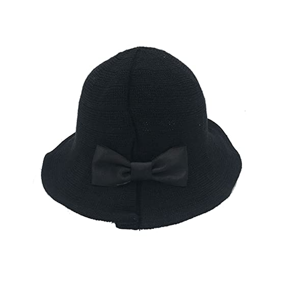 b52ac58cc1c BOW Womens Cotton Sun Hats Foldable Sunhat Bucket Hat Summer Beach Hat  (Black)