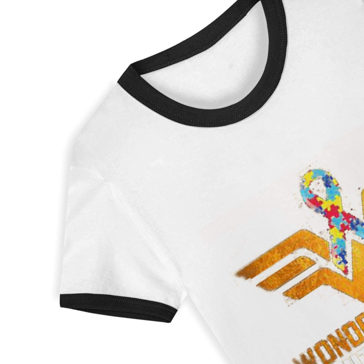 CY SHOP Wonder Warrior Fight for Autism Childrens Boys Girls Contrast Short Sleeve T-Shirt