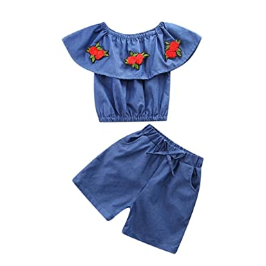 36dc1c4b6f7 Toddler Kids Girls Rose Embroidery Off Shoulder Denim Tops+Shorts Outfits  Clothes (3T(