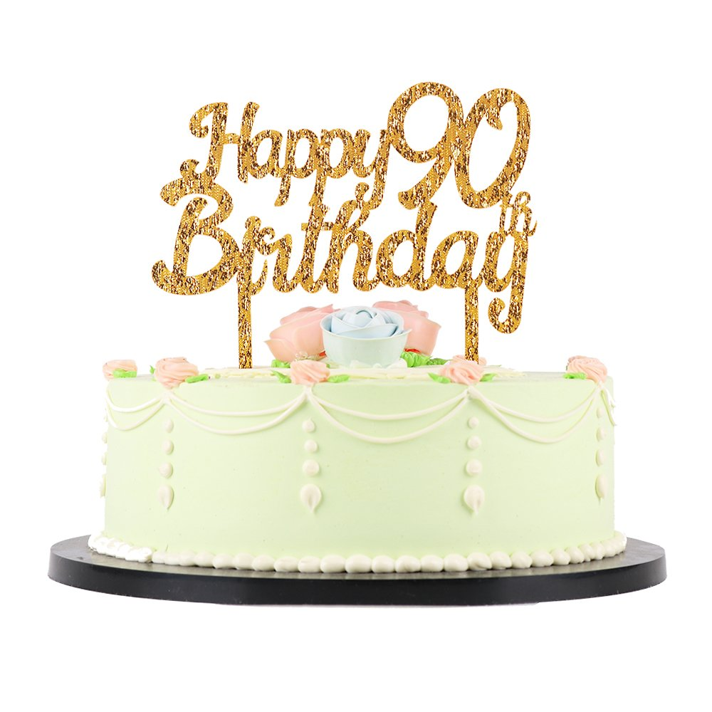 LXZS-BH Gold Glitter Acrylic Happy Birthday Cake Topper,Party Cake Decoration Supplies (90th) by LXZS-BH