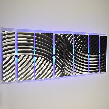 DV8 Studio Modern Abstract Metal Wall Art Large Silver Metal Art Panels  Titan, LED Color