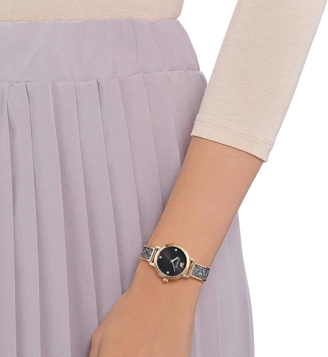 Swarovski 5376068 Cosmic Rock Reloj de pulsera de metal, color negro y oro rosa