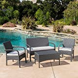 Christopher Knight Home High End Luxury Cordoba Outdoor Backyard Wicker Table Chairs Chat Set 4-piece Conversation with Cushions Furniture Grey and Silver ( Pillows NOT INCLUDED)