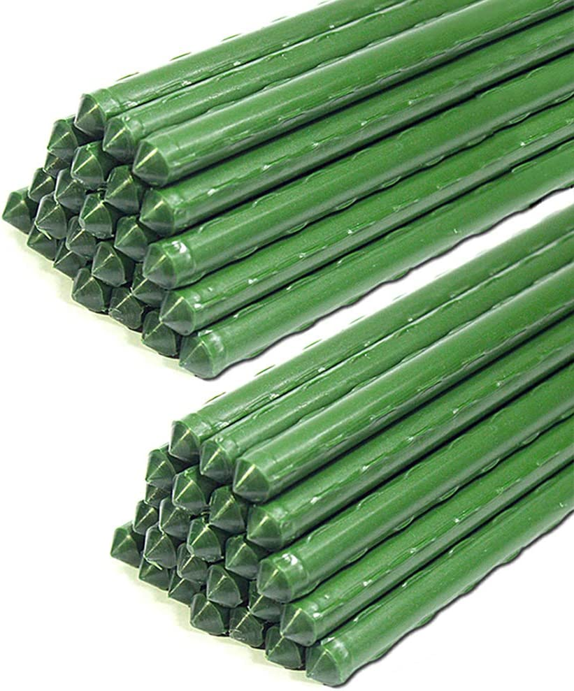 G-LEAF 3-Ft Sturdy Metal Tomato Garden Stakes Cage Plastic Coated Steel Tube Plant Sticks for Tomato,Cucumber,Strawberry, Bean,Tree,Pack of 50