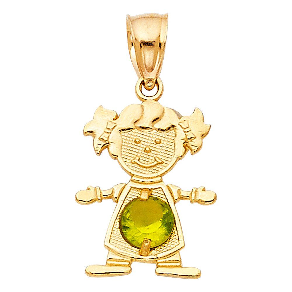 14K Yellow Gold Birthstone Cubic Zirconia CZ Girl Charm Pendant For Necklace or Chain