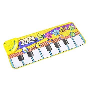 Greetuny 1pcs Alfombra Musical Infantil Educación Música Bebe Piano Teclado Gaming Creativo Juguete Recién Nacido Juega y Salta Danza Suave Mat Bebe: ...