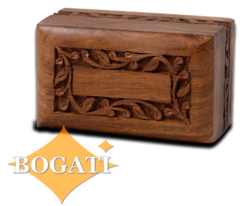 Hand Carved Rosewood Urn with Border Design - Small Bogati RW-Border-S