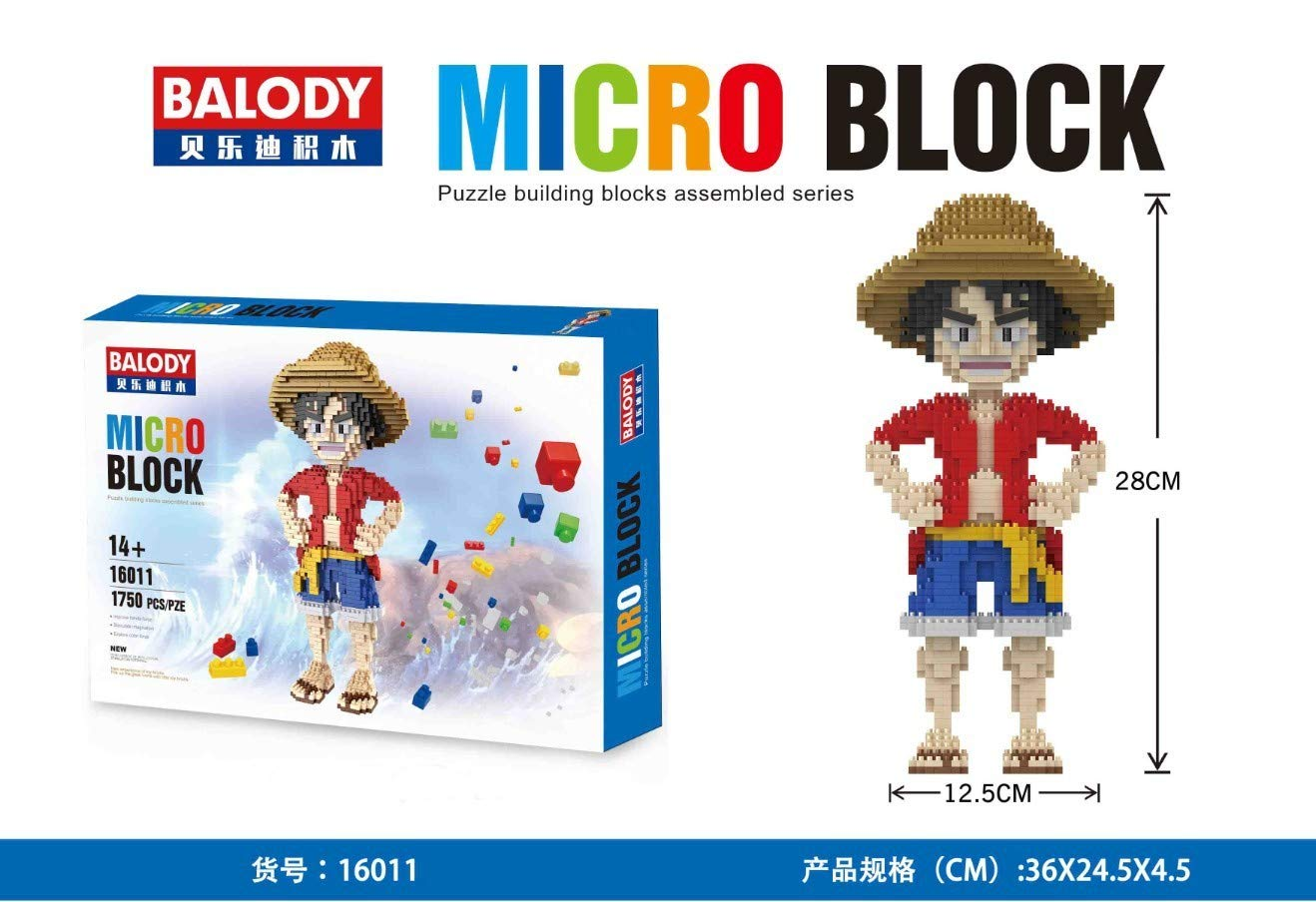 One Piece Building Block Set ca.28 cm Luffy THTB