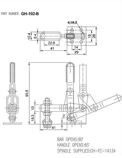 Imagine 2pcs Toggle Clamp Gh 102b 100kgs 220lbs Holding Capacity