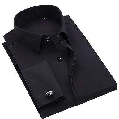 af4466f8a88 sweattang New Mens Formal Dress Italian Designer Luxury with Cufflinks  Dress Shirts (Black