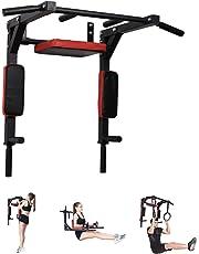 Pull Up Fitness - Barre de Traction Fixation Murale, Noir/Rouge