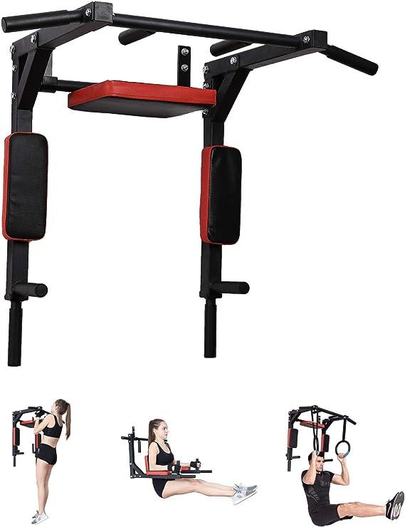 Pull up Fitness - Barra de tracción para fijación en Pared, Color Negro y Rojo