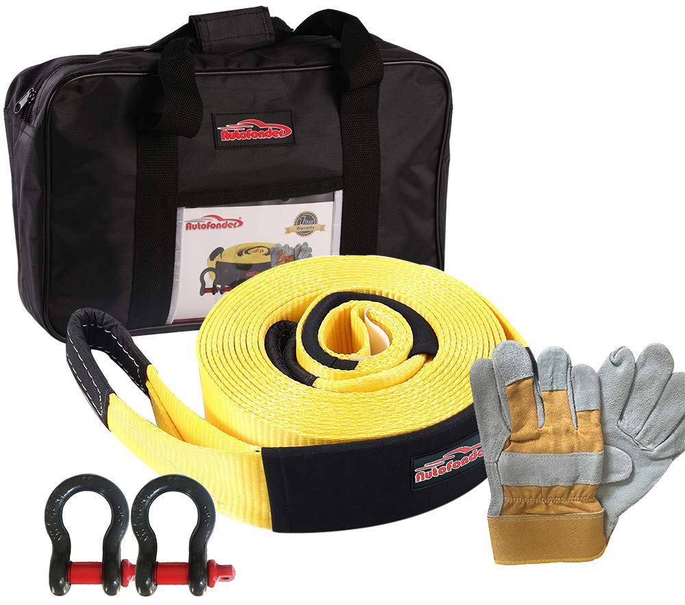 Autofonder Heavy Duty Tow Strap 12T Recovery Kit: 4WD Tow Strap + 3/4 Bow Shackle (2pcs) +1 Pair of Leather Gloves + Storage Bag (9M) by Autofonder