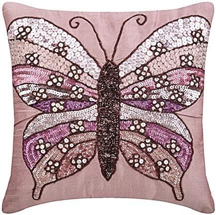 Cuscini 35x35.Rosa Copertura Del Cuscino Decorativo Paillettes E Perline