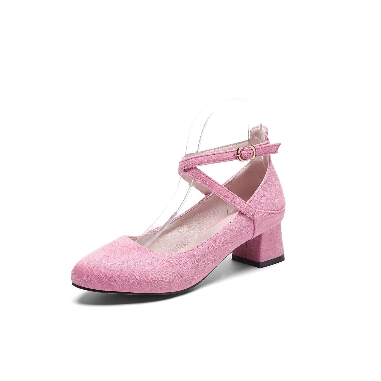 Damen Schuhe Wildleder New Spring Summer Rough Heel Sandale Oxford Guuml;rtel Damen Schuhe fuuml;r Buuml;ro Schwarz Rosa Khaki  41 EU|Ein