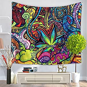 Chengsan Psychedelic Tapestry, Abstract Unusual Figure with Color and Form Details Hippie Arabesque Retro Pattern, Wall Hanging for Bedroom Living Room Dorm(CS-BS12-4)