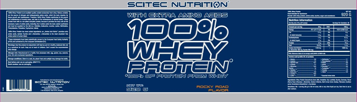 Scitec Nutrition Whey Protein proteína rocky road 920 g