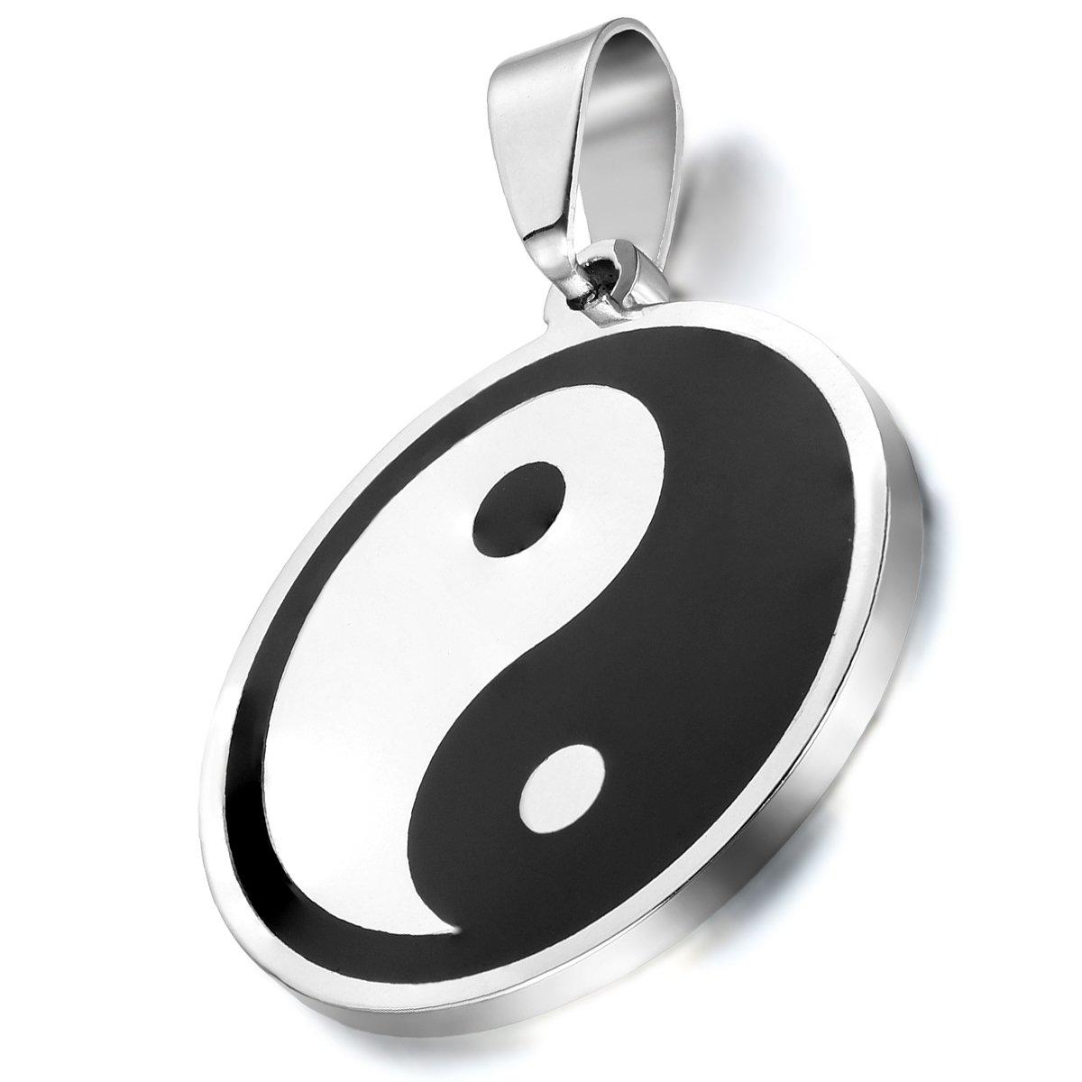Vintage Men Stainless Steel Chinese Symbol Taiji Yin Yang Pendant