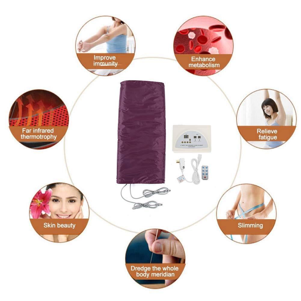 manta de calefacci/ón mando a distancia lejanos Far Infrared Sauna que adelgaza Detox Terapia m/áquina antienvejecimiento adelgazante Aliviar la fatiga violeta Manta sauna infrarroja